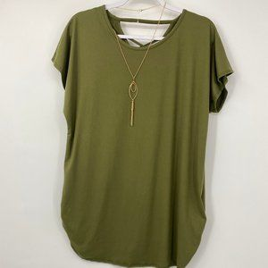 Discreet Maternity Olive Green Rouched Shirt NEW
